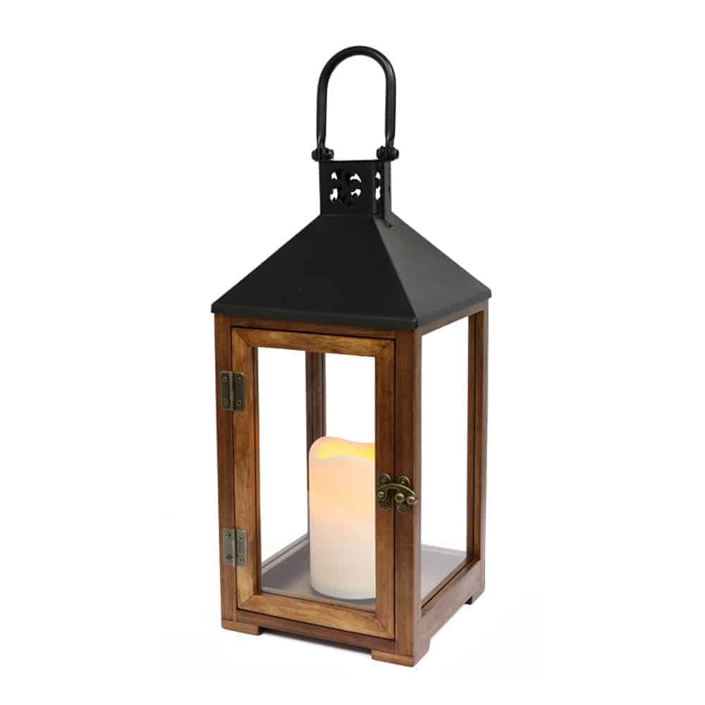 Wood And Metal Lantern With Led Candle Puleo International