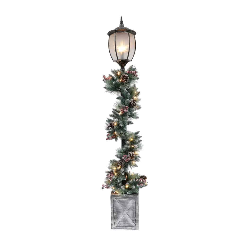 Silver Christmas Tree Color Wheel: 7' Christmas Lamp Post With Decorated Garland